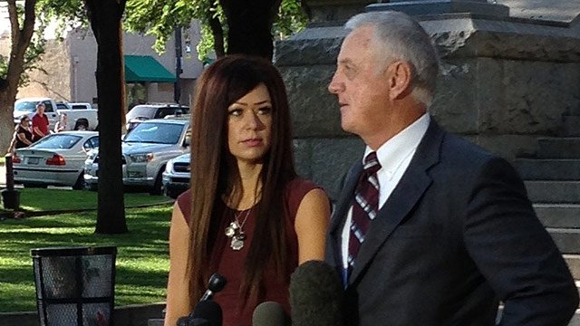 Juliann Ashcraft, left, the widow of Granite Mountain Hotshot Andrew Ashcraft, said a fight with the city over their refusal to pay benefits could be soon on her hands. (Source: CBS 5 News)