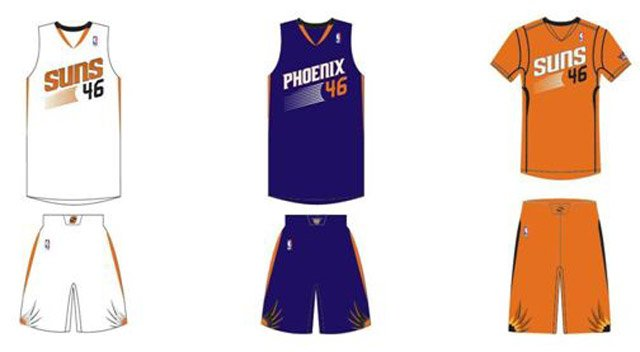 The Suns new uniforms (home, left, away and alternate sleeved)  were unveiled Thursday in Scottsdale. (Source: Phoenix Suns)