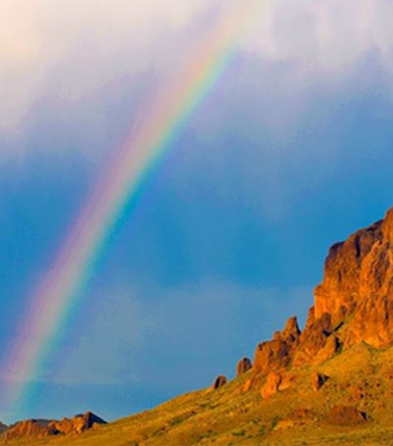 Rainbow over the Superstition Mountains. (Source: Richard Grzych)