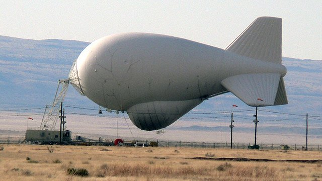The Aerostat system uses giant tethered balloons in Texas, New Mexico and Arizona to scan the border area with radar to detect low-flowing aircraft carrying drugs or other contraband. (Source: Wikipedia)