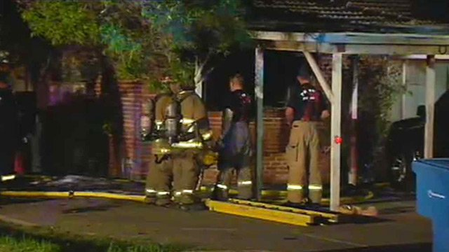 Two renters were displaced by this house fire early Tuesday morning. (Source: CBS 5 News)