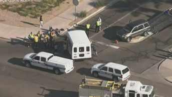 Three children in the car were injured. (Source: CBS 5 News)
