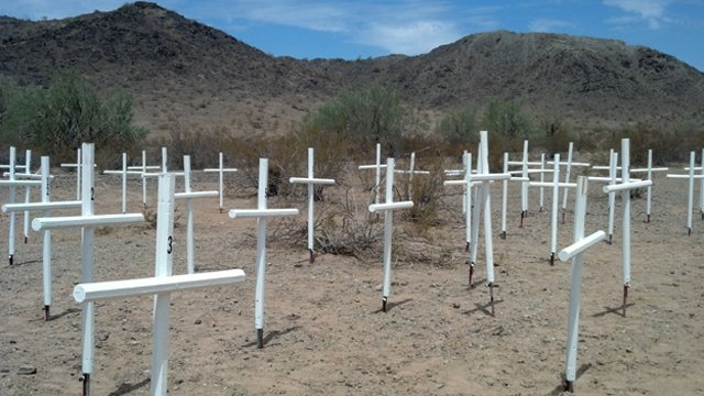 The crosses were made by Arpaio's Tent City inmates. (Source: Maricopa County Sheriff's Office)