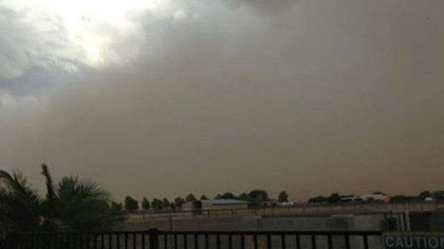 Dust storm around Stanfield at about 5:15 p.m. Monday. (Source: Tanya Alvarado)