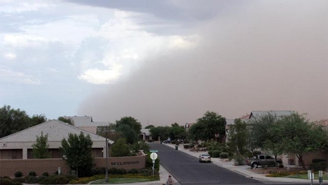 Monday's dust storm as it plowed through Maricopa. (Source: Howard Waggner)