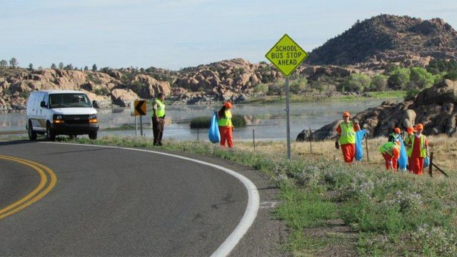 In July, inmates removed trash and debris along a three-mile stretch of roadway. (Source: Yavapai County Sheriff's Office)