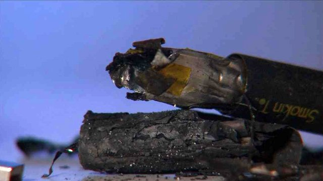 This is what's left from the e-cigarette after it caught fire while plugged into a wall outlet. (Source: CBS 5 News)