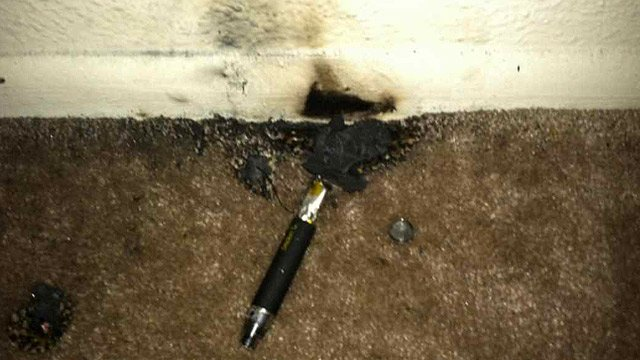 The instrument began to burn and set off a smoke detector that saved Shopshire and wife. (Source: CBS 5 News)