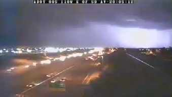 An ADOT camera caught a dazzling lightning display in the West Valley Wednesday night. (Source: CBS 5 News)