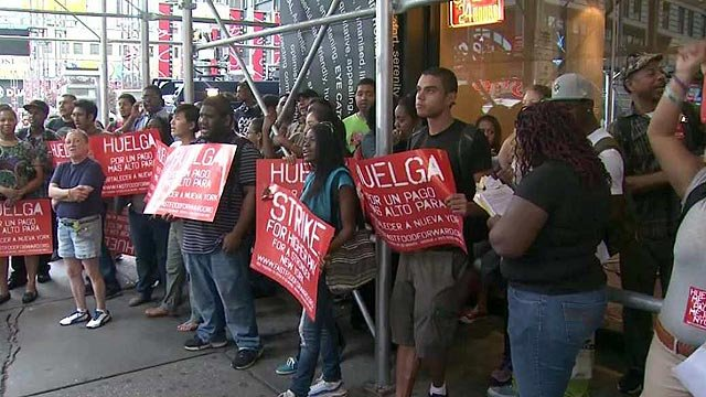 Fast-food workers in Phoenix joined others across the nation by walking off their jobs in protest of the national and state minimum wage laws. (Source: CBS 5 News)