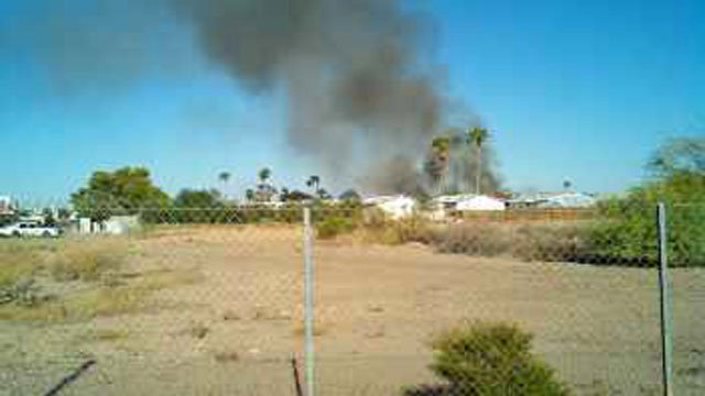 The 8700 block of east McKellips Sunday morning. (Source: Eric Zott, cbs5az.com)