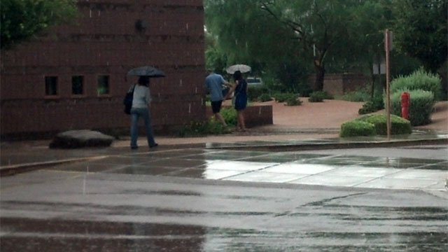 Umbrellas get a workout in Chandler Sunday afternoon. (Source: Christina Batson, cbs5az.com)
