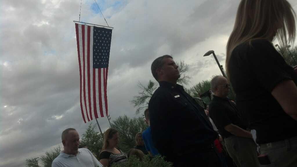 9/11 flag-raising ceremony in Goodyear on Sunday. (Source: Christina Batson, cbs5az.com)