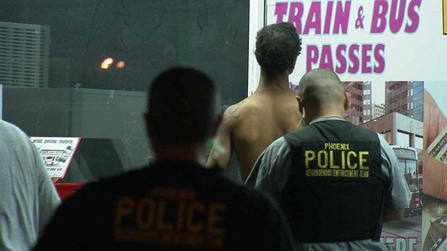 One of three people arrested Thursday night. (Source: CBS 5 News)