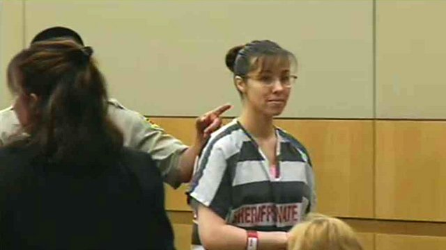 Jodi Arias during an Aug. 26 hearing. (Source: CBS 5 News)