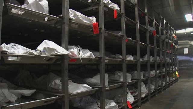 The bodies of people believed to have died crossing the border into the U.S. stack up in a cooler in Pima County. (Source: CBS 5 News)