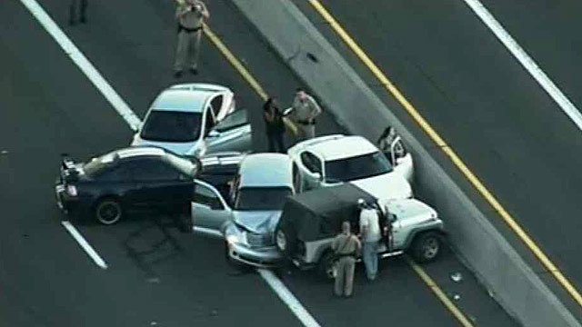 A five-car pileup caused heavy delays on southbound I-17 Tuesday morning. (Source: CBS 5 News)