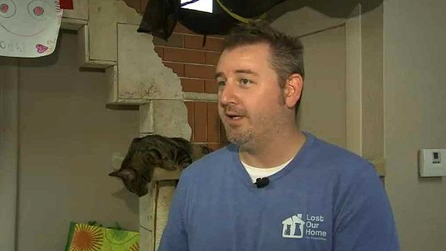 """We just need to put up a few walls, run some venting and air-conditioning ducts and drop some electricity and internet and stuff like that,"" said Chris Harris of Lost Our Home Pet Foundation. (Source: CBS 5 News)"