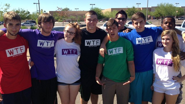 Students sport their WTF shirts at North Pointe High School in Phoenix. (Source: CBS 5 News)