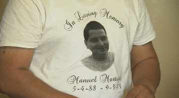 Shirts in memory of Manuel Martinez (Source: CBS 5 News)