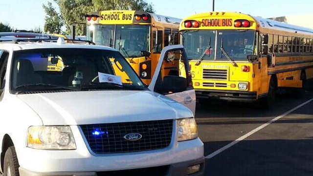 Batteries were stolen from 18 school buses in the Tempe Elementary School District on Monday night, causing early-morning delays in the routes. (Source: Jose Miguel / CBS 5 News)
