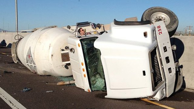A cement truck rolled over and closed the eastbound lanes of Loop 202 near Country Club Drive in Mesa on Thursday morning. (Source: Arizona Department of Transportation)