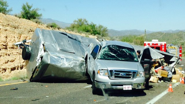 This wreck closed northbound I-17 north of New River on Thursday afternoon. (Source: Colton Shone / CBS 5 News)
