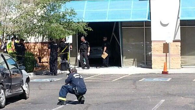 One person was killed when a car ran into this building in Gilbert on Friday morning. (Source: Jose Miguel / CBS 5 News)