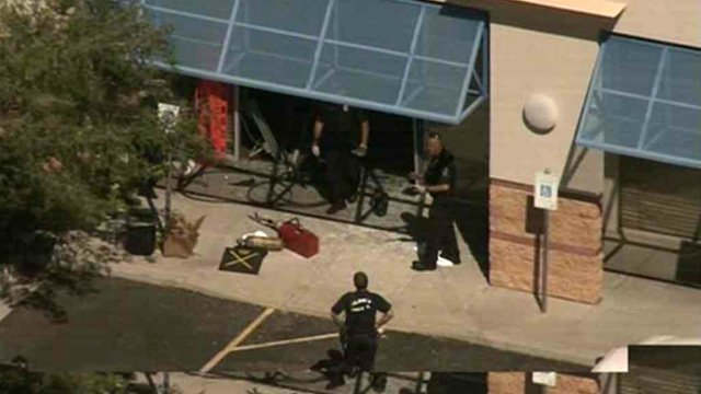 The car slammed into a classroom of students at the Spa Pima. (Source: CBS 5 News)