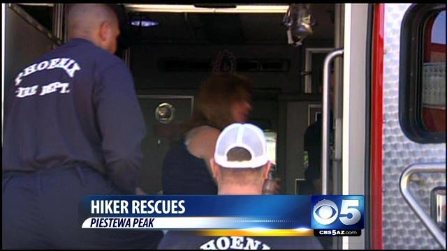 Hiker rescued from Piestewa Peak. (Source: CBS 5 News)