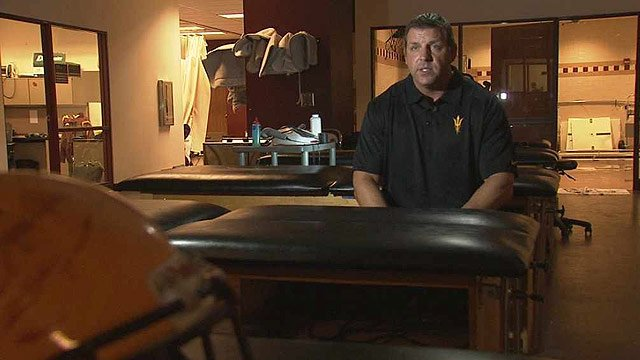 """A lot of the guys really wanted to do it and take part in it because they thought it was important research,"" ASU Head Athletic Trainer Bill Martin said. (Source: CBS 5 News)"