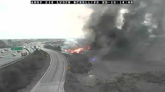 Loop 202 fire near McKellips (Source: ADOT camera)