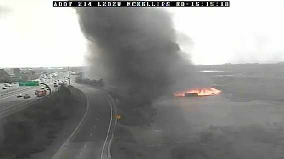 Flames and smoke tower into the air (Source: ADOT camera)