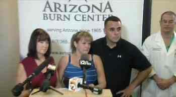Families of burn victims. (Source: CBS 5 News)
