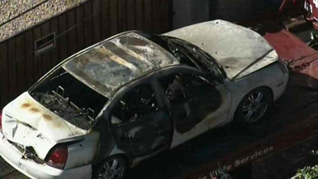 The charred remains of Villa's Hyundai were found Tuesday morning. (Source: CBS 5 News)