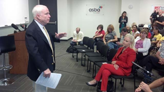 Sen. John McCain at a town hall meeting in Phoenix on Tuesday. (Source: CBS 5 News)
