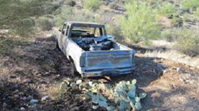 Victim's truck found burned in the desert. (Source: Pinal County Sheriff's Office)