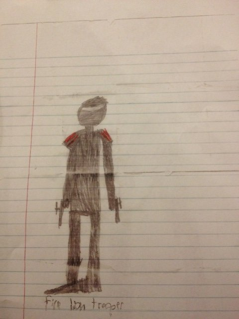 Star Wars character drawn by 8-year-old.