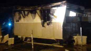 Fire guts two trailers in Phoenix. (Source: CBS 5 News)