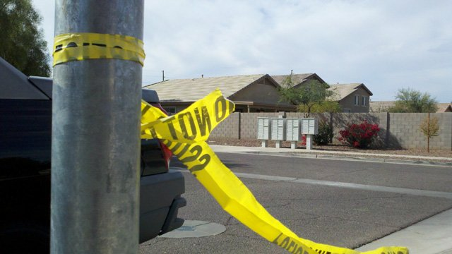 Scene of the shooting. (Source: Steve Aron, cbs5az.com)