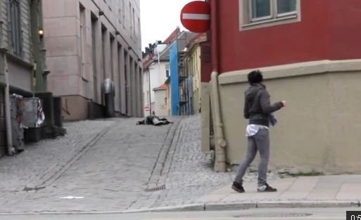 A man appears to be shot in this prank YouTube video. Courtesy: YouTube.