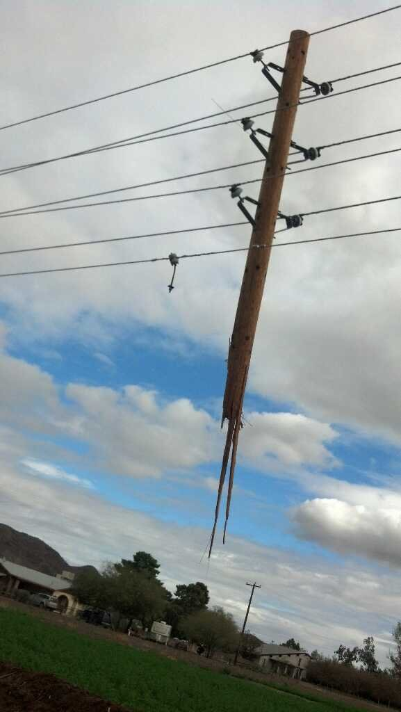 The vehicle sheered off a utility pole and traveled 150 yards. (Source: Christina Batson, cbs5az.com)