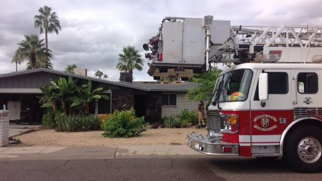 Fire broke out at the home around 10:30 a.m. Sunday.