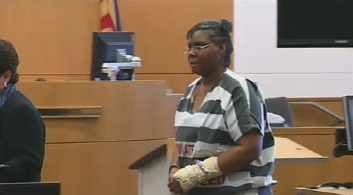 Jerice Hunter in court for a pretrial conference on April 11, 2014.