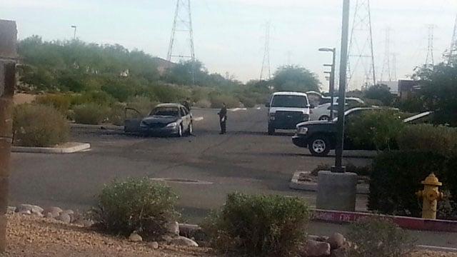 Police believe the getaway vehicle caught fire. (Source: Steve Stout, cbs5az.com)