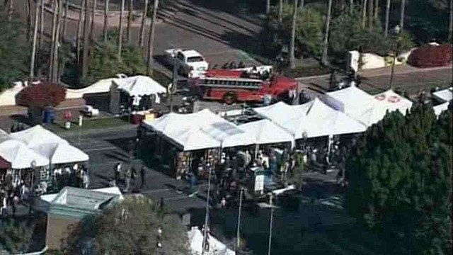Tents line the streets in front of the Tempe Mission Palms in preparation for a busy Saturday. (Source: CBS 5 News)
