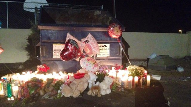 Memorial at the site where the girl's body was found. (Source: CBS 5 News)