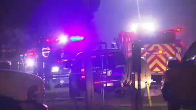 Firefighters from across the West Valley helped fight a raging fire at a farm equipment rental business in Buckeye. (Source: CBS 5 News)