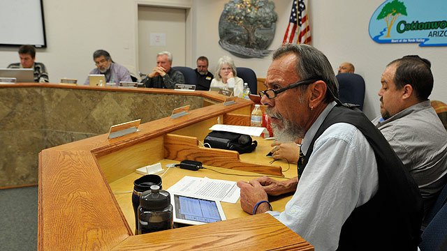 Councilman Terence Pratt, foreground. The Cottonwood City Council voted 6-1 to approve an ordinance that allows same-sex civil unions. (Photo courtesy Michele Bradley)