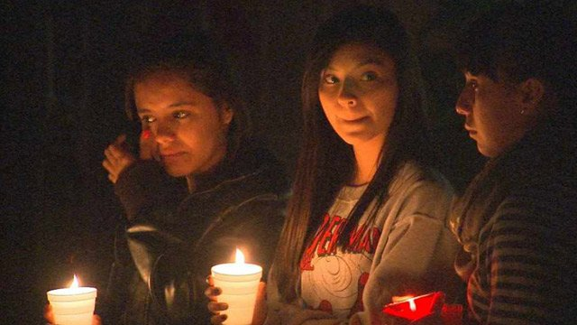 Friends and classmates attend a candlelight vigil for slain Sebastien Sherrill on Sunday. (Source: CBS 5 News)